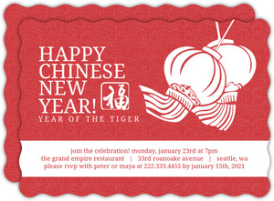 Red and White Flowing Lanterns Chinese New Years Invitation