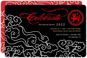 Water Snake White and Black Chinese New Year Invitation