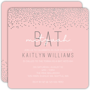 Faux Silver Celebration Confetti Bat Mitzvah Invitation