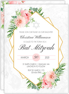 Floral Embellished Frame Bat Mitzvah Invitation