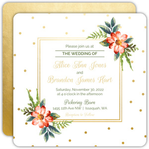 Gold Polka Dot Wedding Invitation