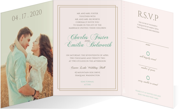 Whimsical Watercolor Succulents Tri Fold Wedding Invitation