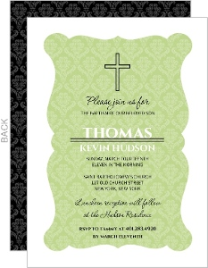 Green Elegant Damask Frame Baptism Invitation