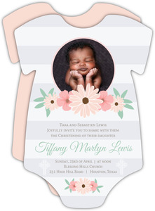 Soft Stripes and Floral Christening Invitation