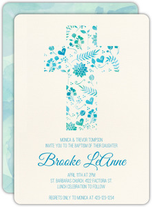 Watercolor Cross Baptism Invitation