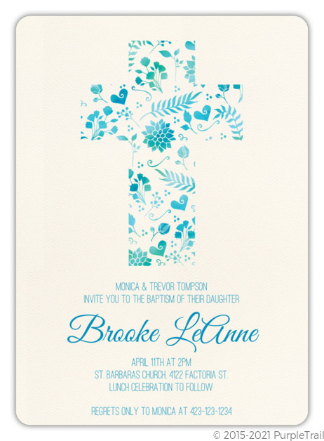 Watercolor Cross Baptism Invitation Baptism Invitations