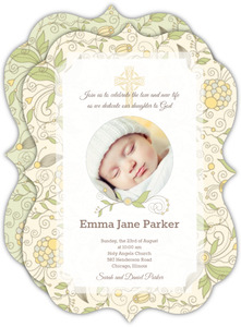 Beautiful Yellow Floral Christening Invitation