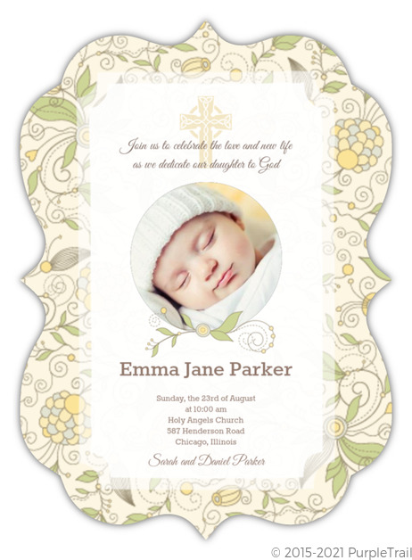Beautiful yellow floral christening invitation christening invitations beautiful yellow floral christening invitation stopboris Images