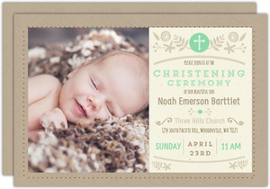 Mint and Kraft Floral Christening Invitation