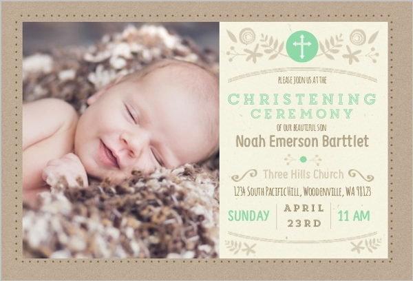 Mint And Kraft Floral Christening Invitation Christening Invitations