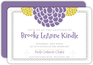 Modern Purple Botanical Baptism Invitation