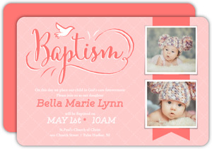 Cute Coral Pink Baby Baptism Invitation