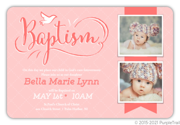 Cute coral pink baby baptism invitation baptism invitations cute coral pink baby baptism invitation stopboris Image collections