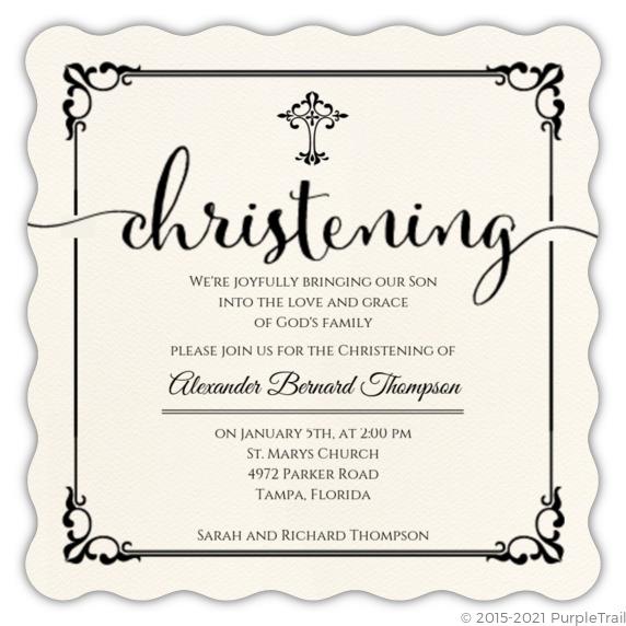 Elegant Black Frame Christening Invitation | Christening ...