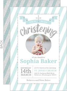 Teal And Silver Faux Glitter Christening Invitation