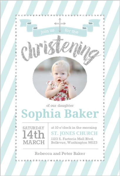 Teal And Silver Faux Glitter Christening Invitation Christening