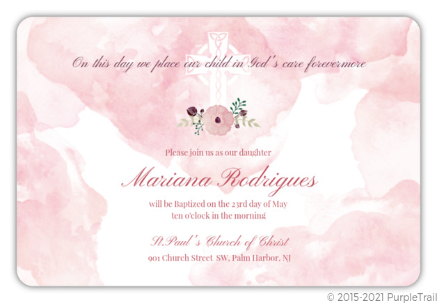 Blush Watercolor Flower Baptism Invitation Baptism Invitations