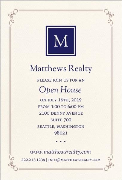 Monogram business open house invitation business open for Monogram homes floor plans