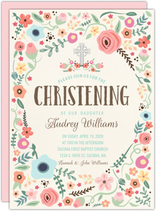Cute and Colorful Floral Christening Invitation
