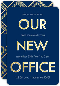 Faux Gold Navy New Office Open House Invitation