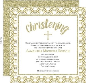 Beautiful Sparkling Faux Glitter Christening Card