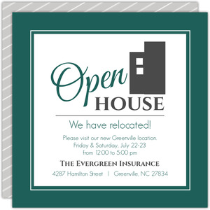 Modern Everygreen Business Open House Invitation