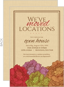 Brown Linen and Flowers Open House Invitation