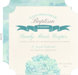 Traditional Elegant Teal Baptism Invitation