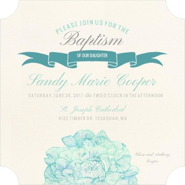 traditional elegant teal baptism invitation baptism invitations