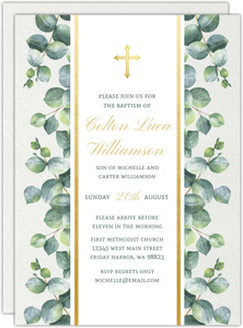 Delicate Green Watercolor Greenery Baptism Invitation
