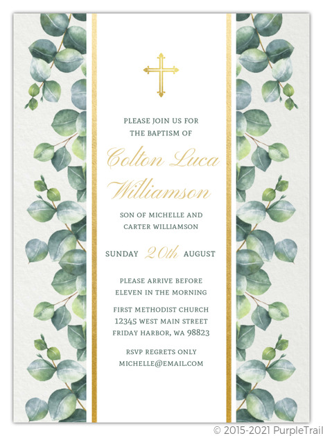 delicate green watercolor greenery baptism invitation baptism