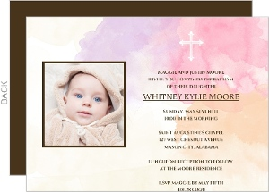 Sweet Pink Stripes Photo Baptism Invitation