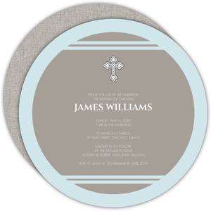 Gray and Blue Traditional Striped Cross Baptism Invitation