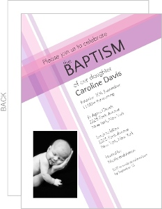 Contemporary Cross Photo Christening Invitation