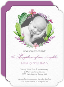 Precious Cacti Wreath Baptism Invitation