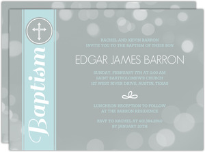 Gray Bubbles with Blue Stripe Baptism Invitation