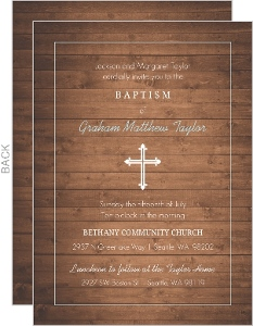 Woodgrain And Cross Baptism Invitation