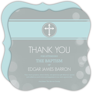 Gray Bubbles Baptism Thank You Card