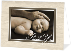 Brown Wood Grain Elegant Baptism Thank You