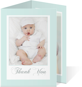 Pale Blue Trifold Baptism Thank You