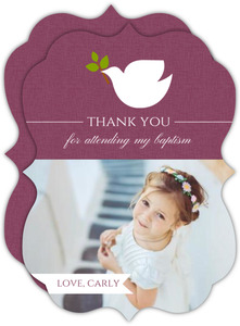 Burgundy Dove Religious Thank You Card