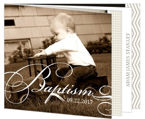 Brown Patterns Formal Booklet Baptism Invitation