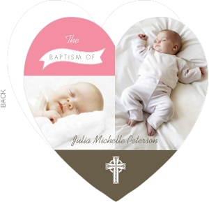 Pink And Brown Heart Baptism Invitation