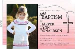 Pink Ombre Rosary Cross Baptism Invitation