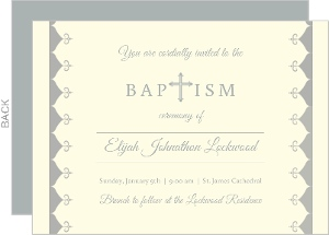 Cream And Gray Cross Baptism Invitation