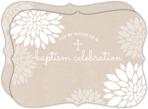Delicate Kraft And White Floral Baptism Invitation