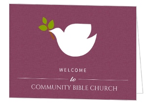 Dove On Burgendy Church Welcome Card