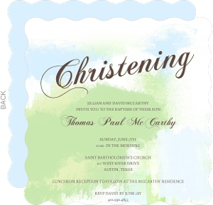 Green And Blue Pastel Christening Invitation