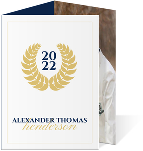 Navy and Gold Seal Graduation Invitation