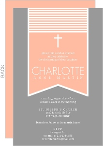 Gray And Peach Christening Invitation